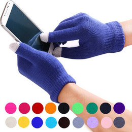 Wholesale Wool Ipad - Magic Men Women Knit Wool Winter Touch Screen Gloves For Smart Phone Tablet Full Finger Mittens or iPhone Touch Screen Gloves for iPad