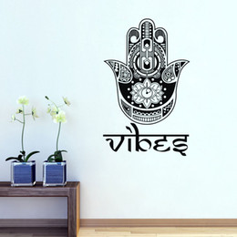 Wholesale Lotus Decals Stickers - Indian Buddha Lotus Wall Decals Vinyl Removable Home Decor Wall Stickers Hand Of Fatima Yoga Studio Wall Decoration