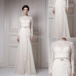 Wholesale Images Cool - 2015 New Vintage Wedding Dresses With Bateau Long Sleeve Cool Muslim Floor Length Lace Ersa Atelier Bridal Gown In White And Ivory Color