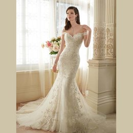 Wholesale New Sexy See Through Dresses - New Arrival Custom Made Boat Neck with Sleeves Sexy See Through Back Appliques Lace Organza Mermaid Wedding Dresses Long Train