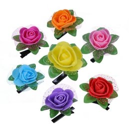Wholesale Festival Baby Rose hairbin floral accesorios para el cabello mayorista linda chica pinza de pelo de flores Party Bar decoración Artifica tocado de flores