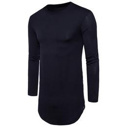 Wholesale Men S Winter Fashion Trends - New Trends Men T shirts Super Longline Long Sleeve T-Shirt Hip Hop Arc hem With Curve Hem Side Zip Tops teeAutumn and winter