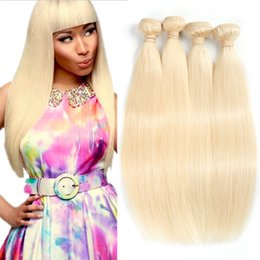 Wholesale platinum color hair extensions - Doheroine Brazilian Straight Hair Weave 4 Bundles 613 Blonde Human Hair Bundles 100% Honey Platinum Virgin Hair Extensions Free Shipping