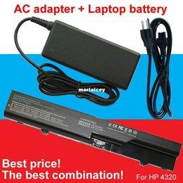 Wholesale Hp Probook Adapter - High quality- HOT- 1pcs Adapter+1pcs laptop battery For HP COMPAQ 320 321 325 326 420 421 620 420 4320t 620 625 ProBook 4320s 4420s 4520s 47