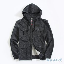 Wholesale French Terry Pullover - Hoodies Men Hoodie Multi-pocket French Terry Sweatshirt Hoodie Male Promotion Black Gray Plus Size European Size