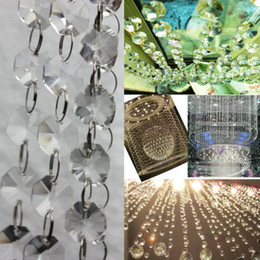 Wholesale Chandelier Glass Prisms Chain - 1 PCS Octagon 6 FT Clear Glass Chandelier Wedding Crystal Lamp Bean Chain Prisms Free Shipping