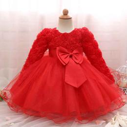 niña de moda vestidos rosa Rebajas Princesa Party Ball Gown Fashion Hollow Rose roja de manga larga gasa con volantes Tutu vestido romántico de San Valentín Baby Girls vestido de ropa
