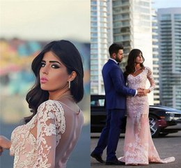Wholesale islamic muslim wedding dresses - Glamorous Arabic Islamic Muslim Mermaid Wedding Dresses 2017 with Long Sleeves Appliques Lace Flowers V Neck Sweep Train Party Gowns