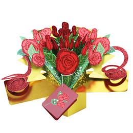 2019 flores dos presentes do feliz aniversario Artesanato Cartões 3D Pop Up Rose Flor Feliz Aniversário Cartão de Convite Para O Presente Do Dia Dos Namorados 8yk1 CW flores dos presentes do feliz aniversario barato