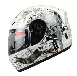Wholesale Face God - Wholesale-New Arrival Brand Tanked Racing Motorcycle Helmet Full Face Cool Men God Skeleton Angel ROSSI Dirt Cascos Para Moto