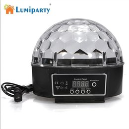 Wholesale Lamps Change Colour - Wholesale- LumiParty Colour Changing 27W Creative LED Stage Laser Lamp Crystal Ball Light Club Disco DJ Party Bar Sound Sensor Decoration