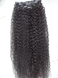 2019 extensión de clip de pelo rizado largo negro Extensiones de cabello largo virginal humano mongol de 26.28 pulgadas 9 piezas de clip en el cabello rizado rizado marrón oscuro color negro natural rebajas extensión de clip de pelo rizado largo negro