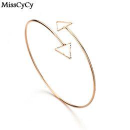 Wholesale Arrow Bracelet Bangle - MissCyCy 2016 New Arrival Punk Style Gold Color Cuff Bracelets For Women Hollow Triangle Arrow Arm Bracelet & Bangle