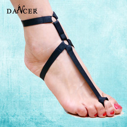 Wholesale Seductive Wear - Seductive women body harness foot bondage garter barefoot cage harness belt fetish wear pole dance decorations P0050