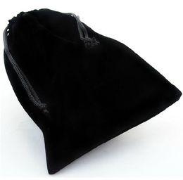 2019 sacos de organza de cetim por atacado A venda quente por atacado preto Drawstring Velvet Pouch Bag para jóias dois tamanhos estão disponíveis