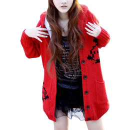 big thick sweaters Promo Codes - Wholesale- Autumn Winter Cardigan Coat Korean Loose Big Yards Long Jumper Plus Thick Velvet Hooded Knit Sweater Women Vestidos LXJ366
