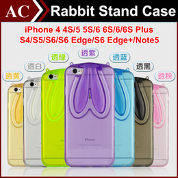 Wholesale Iphone Case Cover Bunny - 3D Cartoon Rabbit Ear Soft Clear Stand Case For iPhone 4 5S 6 6S 7 Plus Galaxy S6 S7 Edge Bunny Transparent Cover Folding Shell