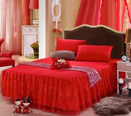 Chemises de dentelle bon marché livraison gratuite en Ligne-En gros pas cher dentelle princesse lit chemise rose violet rouge begie belle dentelle mariage literie fournitures livraison gratuite