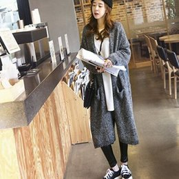 Wholesale Sweaters Korea - Women coats Korea autumn long slit at the lazy liberal bat sleeve knitted Cardigan mix warm sweater coat winter coats for women WKS0023