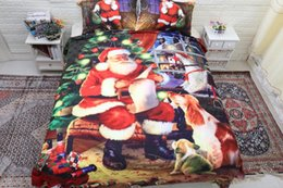 Wholesale Animal Printed Comforters - Warm Christmas Bedding Sets Santa Claus red 3pcs 3D Home Textiles Twin Queen King size Polyester Bedding Set