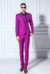 Wholesale Men Gown Wedding - Purple Mens Suits Custom Made Three Pieces Groom Tuxedos Wedding Suits For Men Formal Occasion Gown The Best Men Groomsman Wear Jacket
