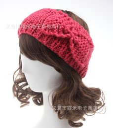 Wholesale Hair Accessory Bow Ladies - Womens headbands Bow Hat Adult Ladies Bandanas Warm Headband Winter Crochet Knitting Wool Solid Headwraps hair accessories headwear WHA51