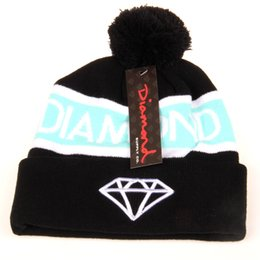 Wholesale Diamond Pom Beanies - Diamond Supply Co. World Beanie With pom pom Beanies Hip Hop Snapback Hats Custom Knitted Cap Snapbacks Popular hat cap