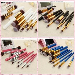 Wholesale Materials Handling - 10pcs   set size mixed makeup brush make-up brush beauty tool set wooden handle + aluminum tube + man-made fiber material OPP simple