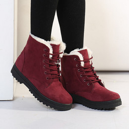 Wholesale Tan Heels For Women - Winter Women Snow Boots Plush Keep Warm Womens Cotton-padded Shoes Suede Leather Vamp Lace-Up Platform Boots For Woman Retail H861