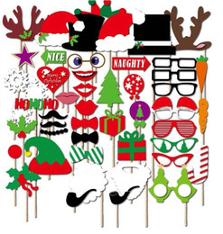 Wholesale Christmas Decoration Paper - 2018 New 47 sets of Christmas New Year rave party photo props Christmas paper beard funny props