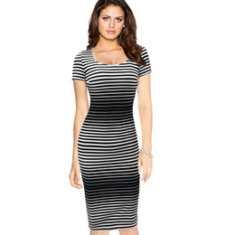 Wholesale Optical Summer Dress - Womens Fashion Spring Summer Elegant Optical Illusion Slim Stripe Work Office Business Casual Party Pencil Dress