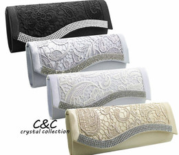 Wholesale White Satin Wedding Clutch - Floral Lace Satin Crystal Diamantes Evening Clutch Wedding Bridesmaid Bag Evening bags Party Prom box Day cluthes New Fahion