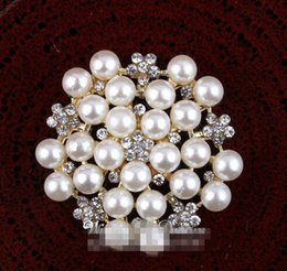 """Wholesale Pearls Flatback - 5%off (120pcs lot) 1.2"""" Silver and Gold FACTORY PRICE Handmade Gem Flatback Metal Rhinestone Button With Clear Flower Shape Pearls"""