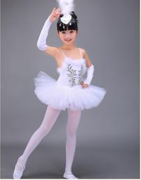 Wholesale Dance Pants Skirts - (10set)children ballet skirt costumes Little Swan Dance Skirts Girls White Ballet Skirt Suit with Headdress gloves white pant by DHL