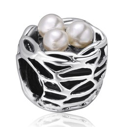 Wholesale European Bird Beads - Pearls Birds Nest Charms European 925 Sterling Silver Beads For Pandora Snake Chains Necklace Bracelet Women jewelry