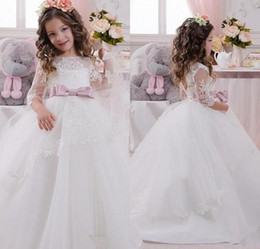Wholesale Christmas Balls For Sell - Top Selling Little Child First Communion Dress With Jewel Neck 3 4 Sleeves Lace Appliques Tulle Ball Gown Flower Girls Dresses For Weddings