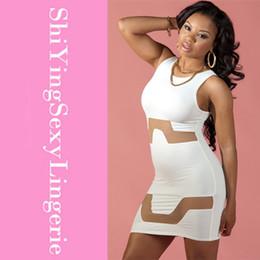 Wholesale White Mesh Cutout Dress - New 2015 Summer Women feminina Club Wear Mini Dresses Round Neck Zipper Back White Mesh Cutouts Bodycon Dress Free Shipping