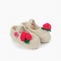 Wholesale Crochet Shoes Baby Prices - Wholesale-Factory Price 6-12Months Newbor Baby Toddler Handmade Knitting Crochet Shoes Flower Bowktie Footwear Crib Baby Girl Shoes