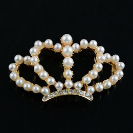 Wholesale Baby Headbands Appliques - 2015 New Pearl Crown DIY Alloy Applique (no clips) DIY handmade accessory for baby girl headbands hair clip