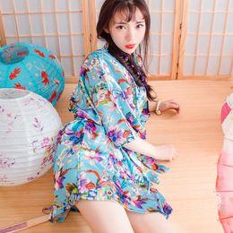 Wholesale Kimono Style Dress Sleeve - Wedding 2016 Summer Style Bathrobe Silk Robes Satin Robes Womens Pijamas Print Color Flowers Blue Colorful Short Kimono Robe Silk Dressing