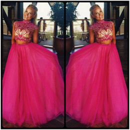 Wholesale Girls New Fashion Pictures - 2016 New Fashion Two Pieces Prom Dresses Heavy Beaded Fuchsia Formal Evening Gown High Neck Prom Dress For Girl With Cap Sleeve