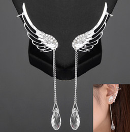 Wholesale Pendant Ear Cuffs - New Arrival Personality Punk Wedding Jewelry 2014 Fashion Silver Wings Earrings With Pendant Ear Cuff Clip Earrings For Women [JE06306*1]