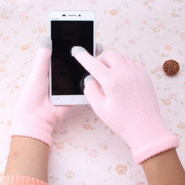 Wholesale Fingerless Padded Gloves - Wholesale-New Unisex Women Men Winter Warm Gloves Causal Wrist Soft Covered Finger Touch Screen Gloves for Mobile Phone Tablet Pad Mittens