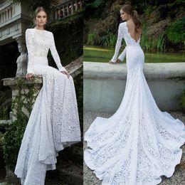 Wholesale Mermaid Wedding Gowns Slit - long sleeved vintage lace mermaid wedding dresses 2016 berta bridal bateau neckline deep v backless chapel train wedding gowns