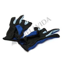Wholesale Fingerless Fishing Gloves - Wholesale-Pair 3 Low Fingers Cut Angling Fish Gloves Anti Non Slip