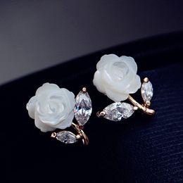 Wholesale Korea Nail - Korea natural mother of pearl inlay zircon rose Strobe moonlight as you nail earring Pentagram stud earrings elegant Korean ear jewelry