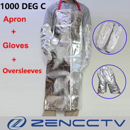 Wholesale Heat Resistant Aluminum - Thermal Radiation 1000 Degree Aluminized Apron With Oversleeves and Gloves Heat Resistant High Temperature Working Aluminum Foil