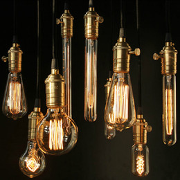 Wholesale Edison E26 Base - Hot selling vintage Antique wholeset E26 27 Edison bulb+copper lamp holder+braided eletrical wire+ ceiling base bar shop pendant lights 1pc