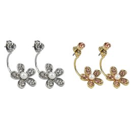 Wholesale girls plastic earrings - 2018 Brand New Fashion (10 pairs) Crystal Flower Stud Earrings for Women Best Gift for Girl QQ-002AB