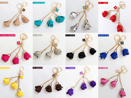 Wholesale Leather Keychains For Men - Keychains for Car Keys Men Couples Lovers Gifts Women Handbag Wholesale Rose Flowers Pendant Keychain Crystals Charms Set Souvenirs Mixed
